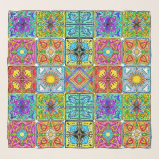 colorful Spanish tiles chiffon scarf