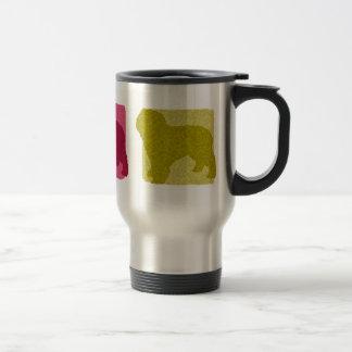 Colorful Spanish Water Dog Silhouettes Travel Mug