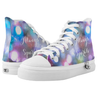 Colorful Sparkle Womens High Top Shoes Printed Shoes