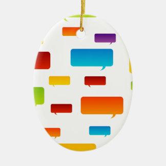 Colorful speech bubbles ceramic ornament