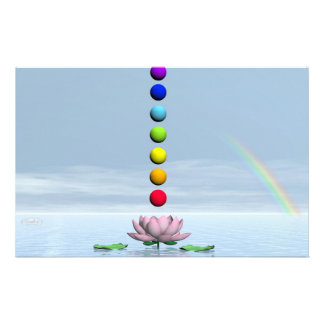 Colorful spheres for chakras upon beautiful lily f stationery