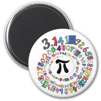 Colorful sPiral of Pi Calculated 6 Cm Round Magnet