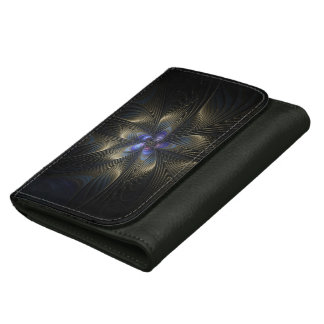 Colorful Spirals Abstract Art Black Leather Wallet