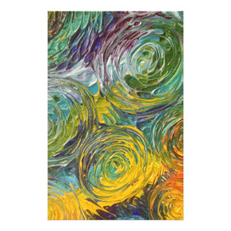 Colorful Spirals Abstract Painting Stationery