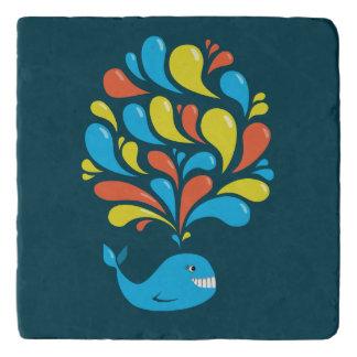 Colorful Splash Blue Happy Cartoon Whale Trivet