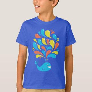 Colorful Splash Happy Cartoon Whale Dark Kids Tshirts
