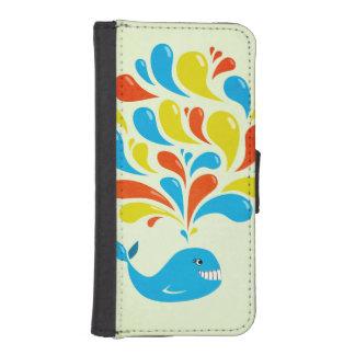 Colorful Splash Happy Cartoon Whale iPhone SE/5/5s Wallet Case