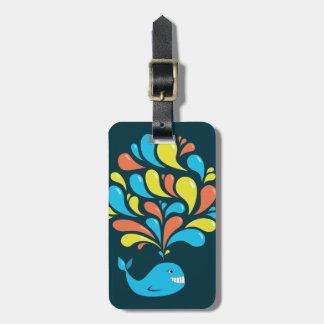 Colorful Splash Happy Cartoon Whale Luggage Tag