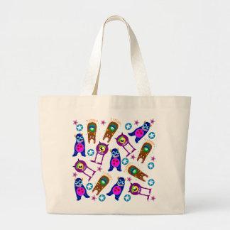Colorful, Spooky Aliens Jumbo Tote Bag