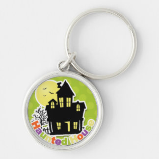 Colorful Spooky Haunted House Silver-Colored Round Key Ring