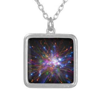 Colorful spot silver plated necklace