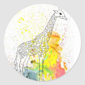 Colorful Spotty Giraffe (Kim Turnbull Art) Classic Round Sticker