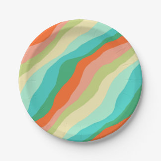 Colorful Spring Abstract Pattern Paper Plate