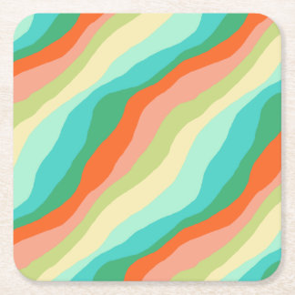 Colorful Spring Abstract Pattern Square Paper Coaster