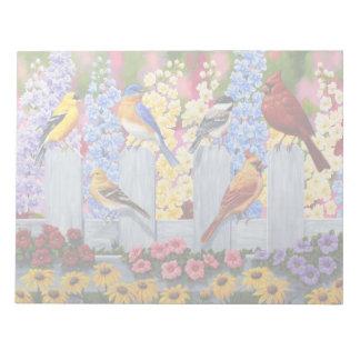 Colorful Spring Birds Garden Party Notepad