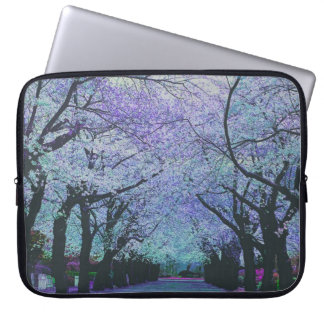 Colorful Spring Cherry Tree Blossom Landscape Laptop Sleeve