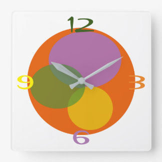 Colorful Spring Day Cheerful Circle Bright Orange Square Wall Clock