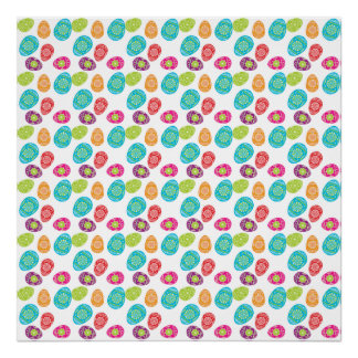 Colorful Spring Easter Eggs Pattern Poster