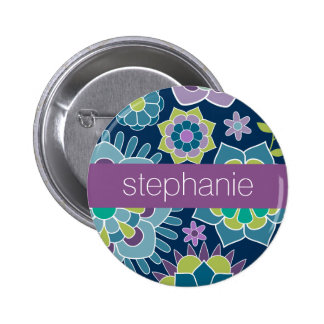 Colorful Spring Floral Pattern Custom Name 6 Cm Round Badge