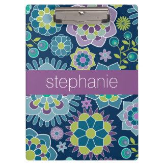 Colorful Spring Floral Pattern Custom Name Clipboard