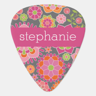 Colorful Spring Floral Pattern Custom Name Plectrum