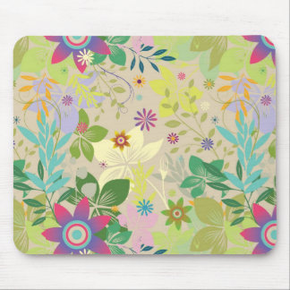 Colorful Spring Floral Pattern Mouse Pad