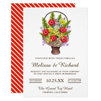 Colorful Spring Flowers Basket Wedding Invitation