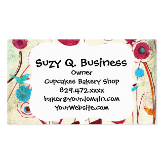 Colorful Spring Flowers Birds Mulberry Blue Orange Business Card Templates