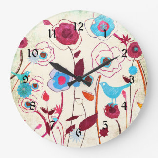Colorful Spring Flowers Birds Mulberry Blue Orange Clock
