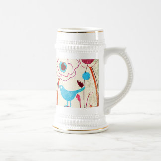 Colorful Spring Flowers Birds Mulberry Blue Orange Mugs