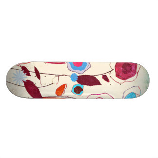 Colorful Spring Flowers Birds Mulberry Blue Orange Skate Board