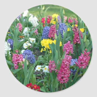 Colorful Spring Flowers Classic Round Sticker