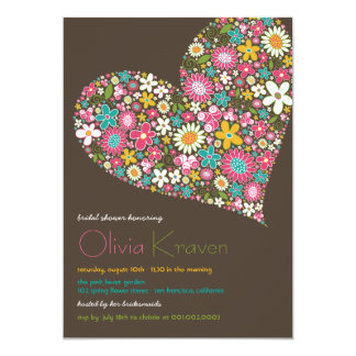 """Colorful Spring Flowers Heart Bridal Shower Invite 5"""" X 7"""" Invitation Card"""