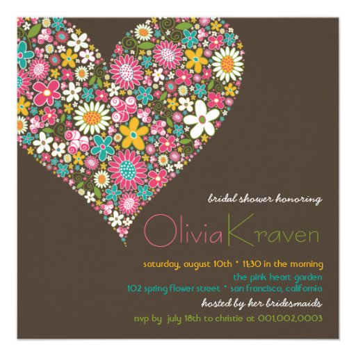 Colorful Spring Flowers Heart Bridal Shower Invite Personalized Invites