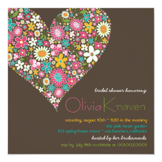 "Colorful Spring Flowers Heart Bridal Shower Invite 5.25"" Square Invitation Card"