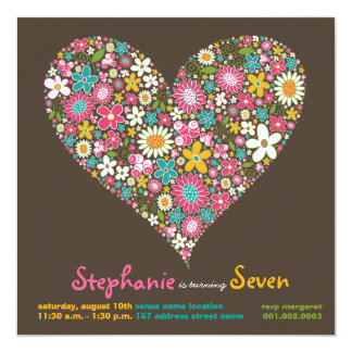 "Colorful Spring Flowers Heart Love Birthday Invite 5.25"" Square Invitation Card"