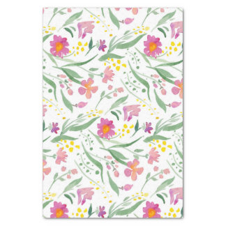 Colorful Spring Flowers & Leafs Pattern Tissue Paper