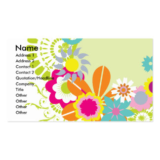 colorful spring flowers vector business card
