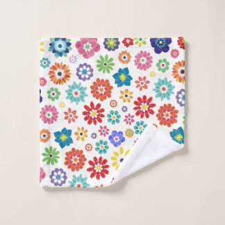 Colorful spring flowers wash cloth