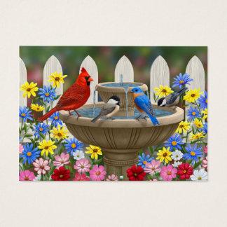 Colorful Spring Garden Bird Bath Business Card