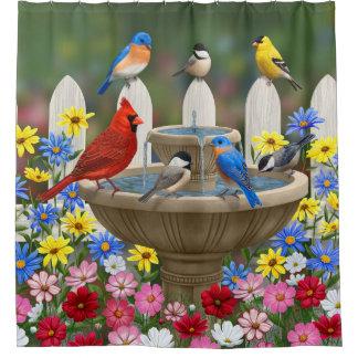 Colorful Spring Garden Bird Bath Shower Curtain