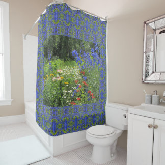 Colorful Spring Garden! Geometric, Larkspur Blue Shower Curtain