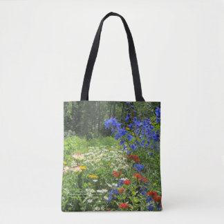 Colorful Spring Garden! Larkspur Blue Tote Bag