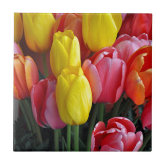 Colorful spring tulips bouquet small square tile