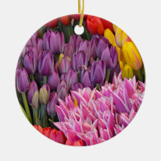 Colorful spring tulips christmas ornament