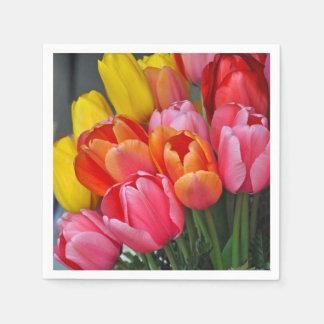 Colorful spring tulips paper napkin