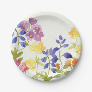 Colorful Spring Watercolour Floral Paper Plate