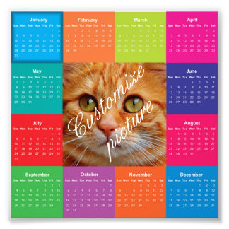 Colorful square customizable 2016 calendar photo print