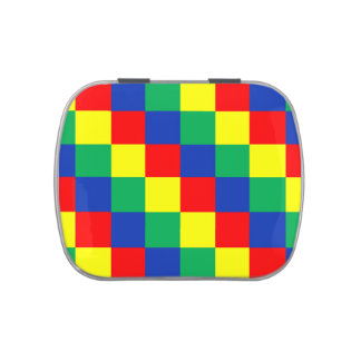 Colorful square pattern jelly belly candy tins