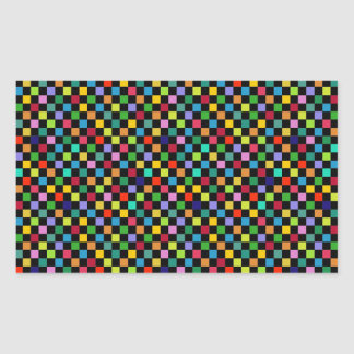 colorful square pattern rectangular sticker